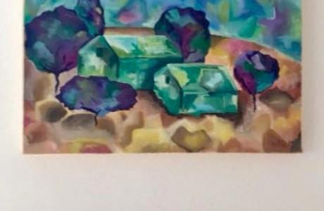 ציור נוף כפרי בבית בבנימינה