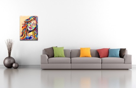 פורטרט אישה במשיכות צבע